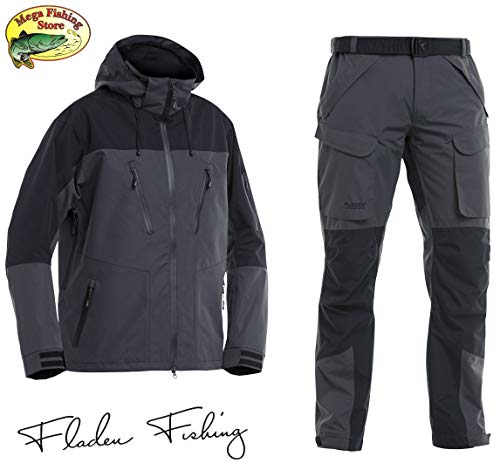 Fladen Fishing Authentic 2.0 Outdoor & Angel Anzug - Jacke + Hose Atmungsaktiv Wasserdicht 10.000mm - Angelanzug (L)