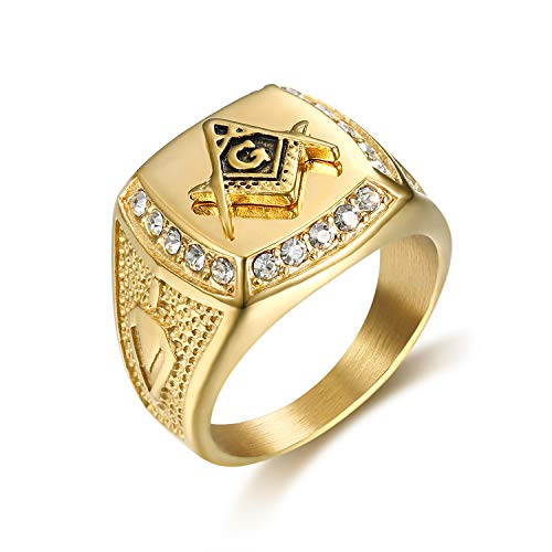 Lee Island Fashion 24K Gold Plated Simmulated Diamond CZ Fully Freemason Symbol Masonic Stainless Steel Ring For Men-Hip Hop Rock Jewelry (10)