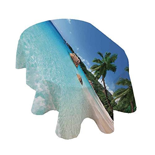 Angel Bags Ocean Decor - Mantel ovalado de poliéster, diseño de playa de Anse Lazio en Praslin Island, surf, playa, 132 x 182 cm, para comedor y fiesta