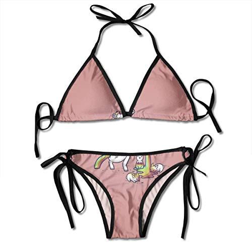 Zweiteiliger Bikini Regenbogen Einhorn Pee Badeanzug Geburtstag Badebekleidung Sommer Unterwäsche Strand Pool Sexy Geschenk Schöne Dauerhafte Urlaub Sexy Bikini Set Hawaii 2 Stück