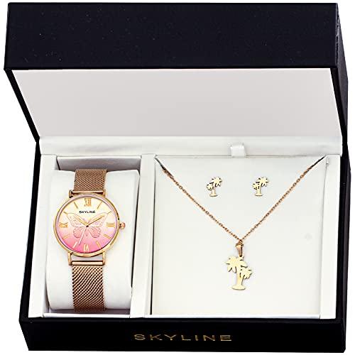 SKYLINE, Conjunto de Accesorios para Mujer, Reloj de Pulsera, Collar y Pendientes con Diseño de Palmera, Acero Inoxidable, Cumpleaños, Aniversario, etc, Oro Rosa