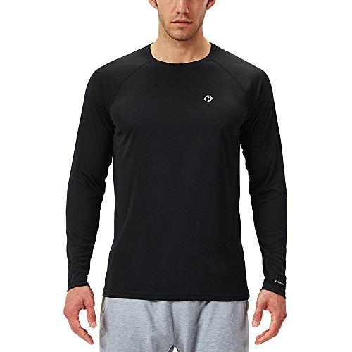 NAVISKIN Men's Sun Protection UPF 50+ UV Outdoor Long Sleeve Shirts Black Size S