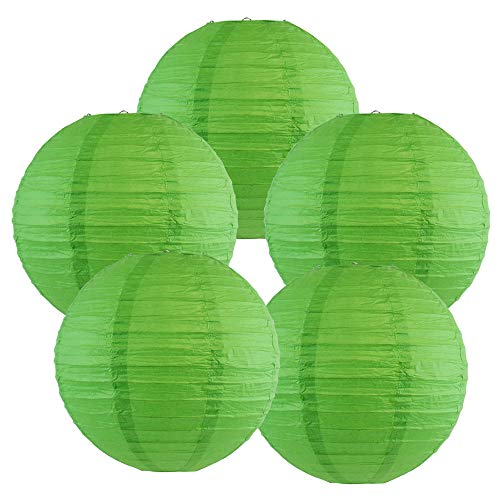 Just Artifacts 10-Inch Green Chinese Japanese Paper Lanterns (Set of 5, Green)