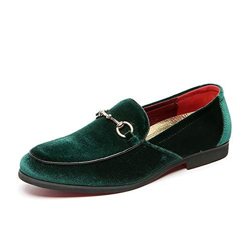 LCQL Herren Vintage Samt Horsebit Loafer Schuhe Noble Slip-on Wildleder Penny Loafer Smoking Slippers Plus Size 7-12.5, Gr�n (grün), 38.5 EU