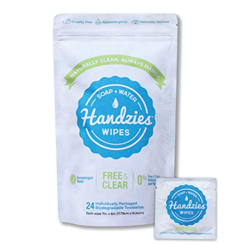 Handzies Natural Soap and Water Hand Wipes, Hypoallergenic, Free and Clear, Individually Packaged Singles (24)