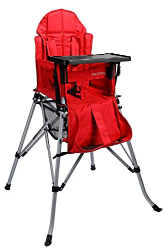 One2Stay Portable Travel High Chair with an Adjustable Backrest (6-36 Months) - Comfortable Foldable Baby Feeding Chair - 5-Point Safety Harness and Double Locking System - Easy to Clean Red