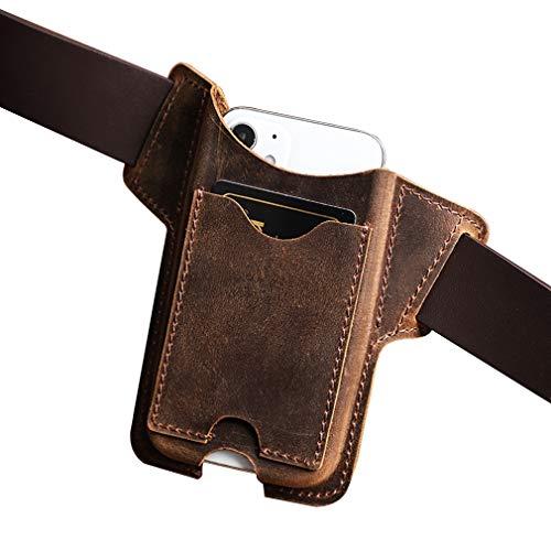 AQUYY Funda de Cuero, Riñonera para Teléfono con Ranura de Tarjeta, Funda para Cinturón para Viajar Deporte, Compatible con iPhone 8 Plus / 12 Mini / 11 Pro MAX/Samsung Galaxy S10 / Note 20 Brown L