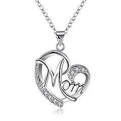 Idea Regalo - Regalo per la mamma, CNNIK Regali di compleanno per la mamma Collana a forma di cuore con ciondolo a forma di cuore con zirconi per compleanno con confezione regalo