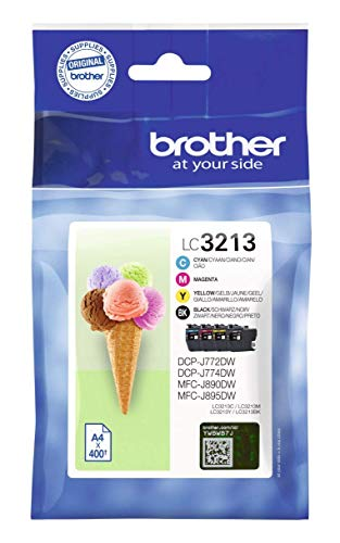 Photo of Brother LC-3213BK/LC-3213C/LC-3213M/LC-3213Y Inkjet Cartridge, Black/Cyan/Magenta/Yellow, Multi-Pack, High Yield, Includes 4 x Inkjet Cartridges, Brother Genuine Supplies
