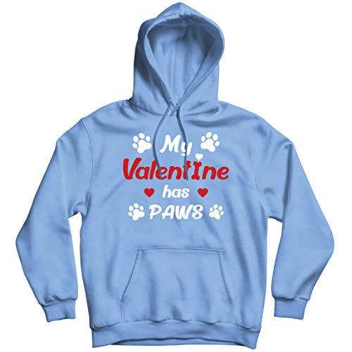 lepni.me Sudadera con Capucha Mi Valentn iene Patas Regalo para los Amantes Adictos a Las Mascotas en el Da de San Valentn (L Azul Multicolor)