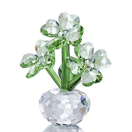 YU FENG Trébol de cuatro hojas Flores de cristal Ornamento Regalos Figuras de cristal Artesanal Facetado Decoración floral