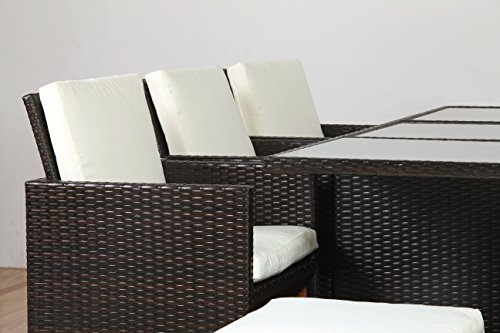 POLY RATTAN Lounge Gartenset BRAUN Sofa Garnitur Polyrattan ALU – kein Bausatz - 4