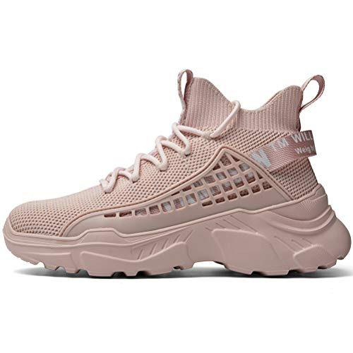XIDISO Women Fashion Sneakers Running Laces Walking Athletic Shoes Outdoor Team Casual Sports Lightweight Breathable Comfortable Stylish Pink