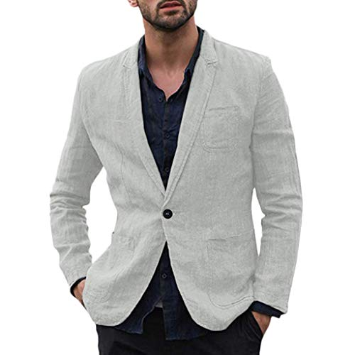 iLXHD Mens Casual Linen Tailored Blazer Long Sleeve Two-Button Lightweight Suit Jacket Sport Coat Gray
