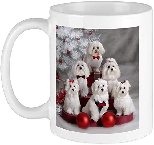 Taza de café maltesa de 14 onzas, apta para microondas y lavaplatos, cachorro maltés, color blanco