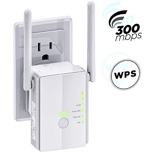 [Upgraded 2020] WiFi Extender 300 Mbps with WPS Internet Signal Booster - Wireless Repeater up to 300 Mbps - Range Network Compatible with Alexa - Extends WiFi Coverage to Smart Home Devices