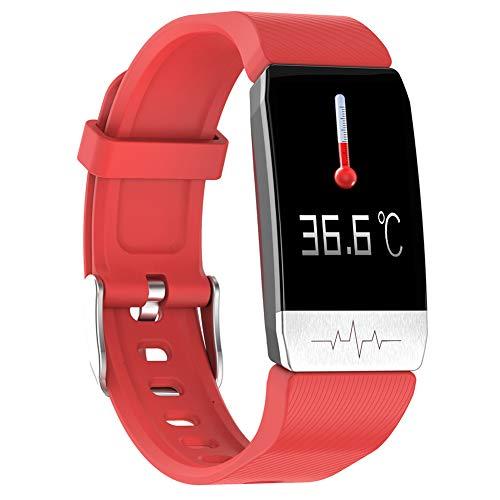GGJJ ZHZZ T1 Temperaturmessung Smart-Armband, IP67 wasserdichte EKG Herzfrequenz Blutdruck und Sauerstoffüberwachung T1S Multi-Sport Smart-Erinnerung,Rot