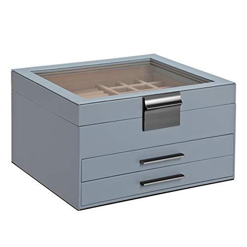 SONGMICS Caja joyero, Caja para Joyas, Organizador de Joyas con Tapa de Cristal, 3 Capas con 2 cajones, Regalo para Seres Queridos, Azul JBC239BU