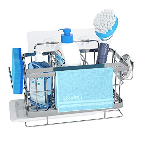 Sink Caddy Kitchen Sink Organizer, Sponge Soap Brush Holder for Sink, Wall Mounted and Countertop Dual-Use Sink Rack with Adjustable Partition Grid and Drain Tray Design, SUS304 Stainless Steel