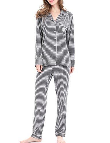 N NORA TWIPS Pajamas for Women Long Sleeve Sleepwear Soft PJ Set Gray Striped M