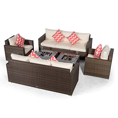 Giardino Sydney 8 Seater Brown Rattan Conversation Sofa Set with 2 x 3 Seater Sofa, 2 x Armchairs & 2 x Drinks Cooler Coffee Tables | 8 Seat Rattan Garden Sofa Set with All Weather Furniture Covers