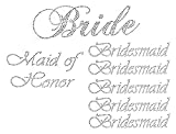Lot of 7 Rhinestone Wedding Iron on Transfer (1 Bride) (1 Maid of Honor) (5 Bridesmaid)