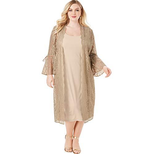 Roamans Women's Plus Size Lace Duster Jacket Dress Set Formal Evening - 12 W, Sparkling Champagne