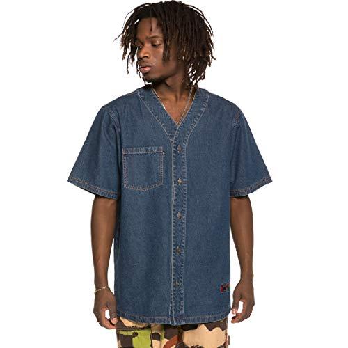 GRIMEY Camiseta Brick Top Baseball Jersey SS19 Washed Denim-XL