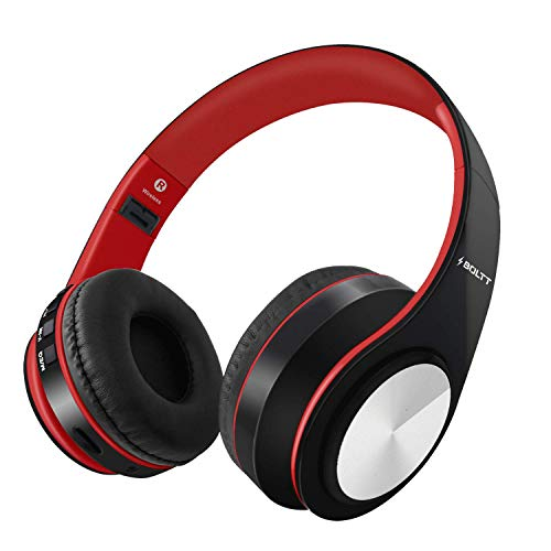 Fire-Boltt Blast 1000 Hi-Fi Stereo Over-Ear Wireless Bluetooth Headphones with Foldable Earmuffs, 20-Hours Playtime & Built-in Mic (Red)