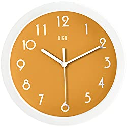 HITO Silent Kids Wall Clock Non Ticking 10 inch Excellent Accurate Sweep Movement Glass Cover, Decorative for Kitchen, Living Room, Bathroom, Bedroom, Office (Orange)