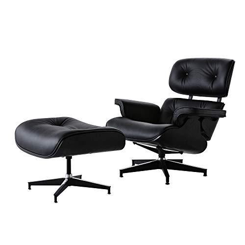 Sillón reclinable con otomano, de cuero suave giratorio con base de aluminio estable, sillón contemporáneo ergonómico con reposapiés para sala de estar, dormitorio, muebles de oficina
