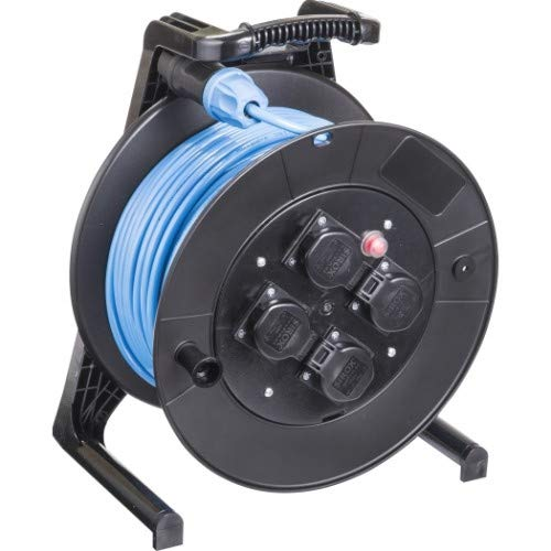 JUMBO® L Kabeltrommel mit 4 Steckdosen H07BQ-F Leitungsfarbe blau, Querschnitt 3 x 2,5 mm², Länge 40 m