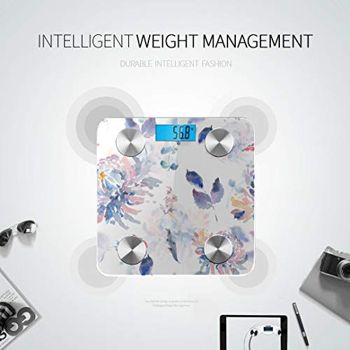 GIRLOS Yellow Chrysanthemum Hand Drawn Flowers Most Accurate Bathroom Scale Bodyweight Scale Best Weight Scale Tracks 8 Key Compositions Analyzer Sync with Fitness Apps 400 Lbs