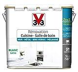 V33 Peinture rénovation - Cuisine, salle de bain - Murs, métal, bois vernis, mélaminé, Blanc satin, 5L