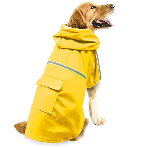 Dog Raincoat Leisure Waterproof Lightweight Dog Coat Jacket Reflective Rain...