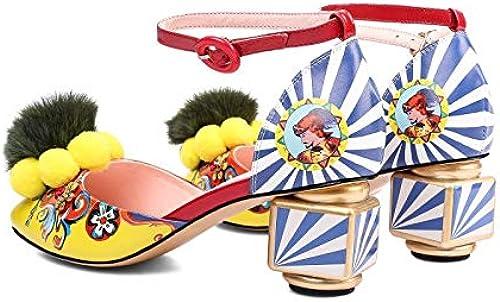 HommesGLTX Talon Aiguille Talons Hauts Sandales été Nouveau Style avec La Mode Sandales Baotou Sac avec La Grande Style Style Celebrity Peinture Et Chaussures De Femmes 43 Mètres