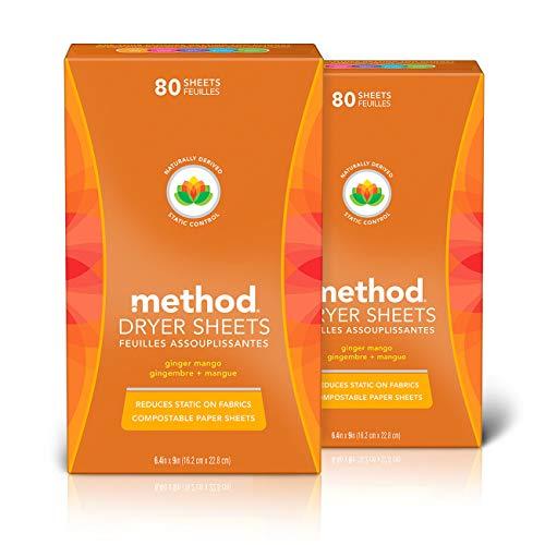Method Dryer Sheets, Ginger Mango, 80 Sheets - 2 Pack