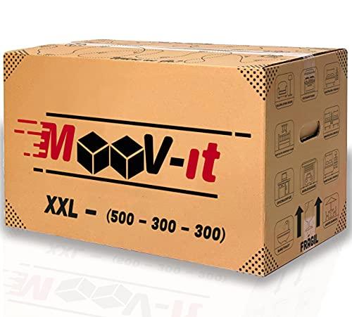 Pack de 20 cajas de cartón para mudanza, 50 x 30 x 30cm, Reforzado y resistente para transporte.Embalaje para envíos con asas. Para almacenaje. Materiales reutilizables, 100% reciclado.(x20Ud.)