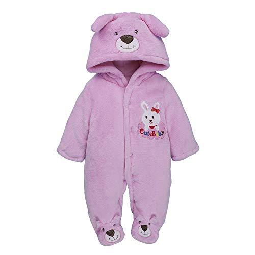 BEIAKE Mono de invierno con capucha para bebé, de forro polar, color rosa, talla M