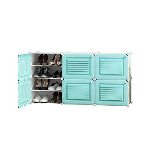 LXDDP Schuhregale 12-Cube DIY, vielseitiger Aufbewahrungsbehälter für Würfel Kunststoffschrank mit Türen, mit Platz für 24 Paar Schuhstiefel (Farbe: Grün)