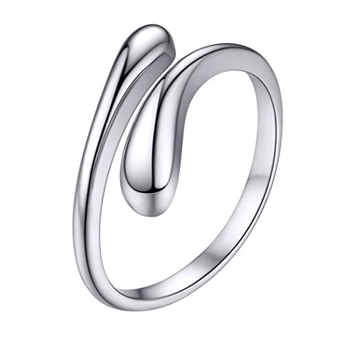Silver Rings Women 925 Solid Sterling Silver Band for Girl Open Gift