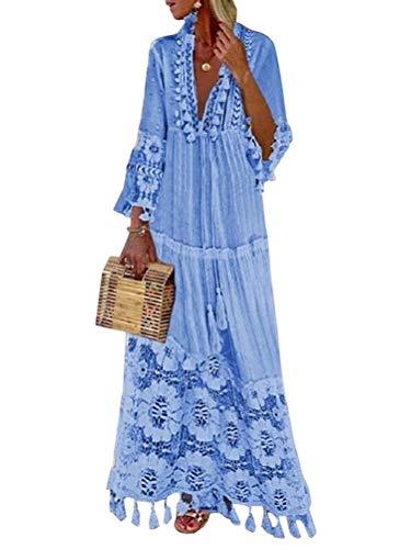 Minetom Langes Kleid Damen 3/4 Ärmel Floral Spitzenkleid V-Ausschnitt Strandkleid Boho Vintage Party Maxikleid Cocktailkleid Blau 34