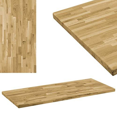 vidaXL Eichenholz Tischplatte 44mm 100x60cm Holzplatte für Couchtisch Esstisch