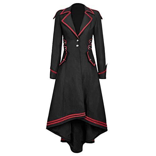 OIKAY Smoking Uniform Damen Steampunk Gothic Long Coat Mantel Retro SAMT-Frack Jacke Barock Punk Steampunk Vintage Viktorianischen Langer Kostüm Cosplay Kostüm