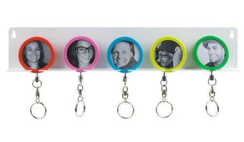 Foto Schlüsselleiste Schlüsselbrett Schlüsselhalter 5 Schlüsselanhänger rot blau grün gelb pink WG Bewohner