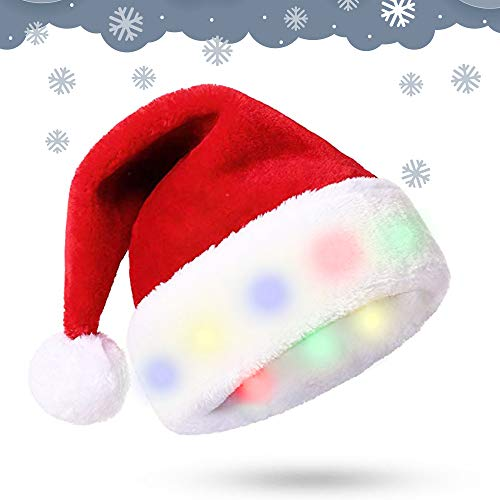 Weihnachtsmütze mit 8 LED Leuchten -Weiches Plüsch-Kunstfell für Erwachsene Weihnachtsmütze - Neuartige und Interessante LED Lichter Weihnachtsdekoration - Weihnachtsschmuck (Farbige Lichter)
