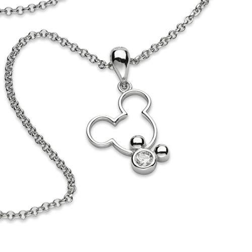 brilliantme Damen Halskette 925 Sterling Silber mit Mickey Maus Anhänger und Poliertuch für Silber Schmuck 26012