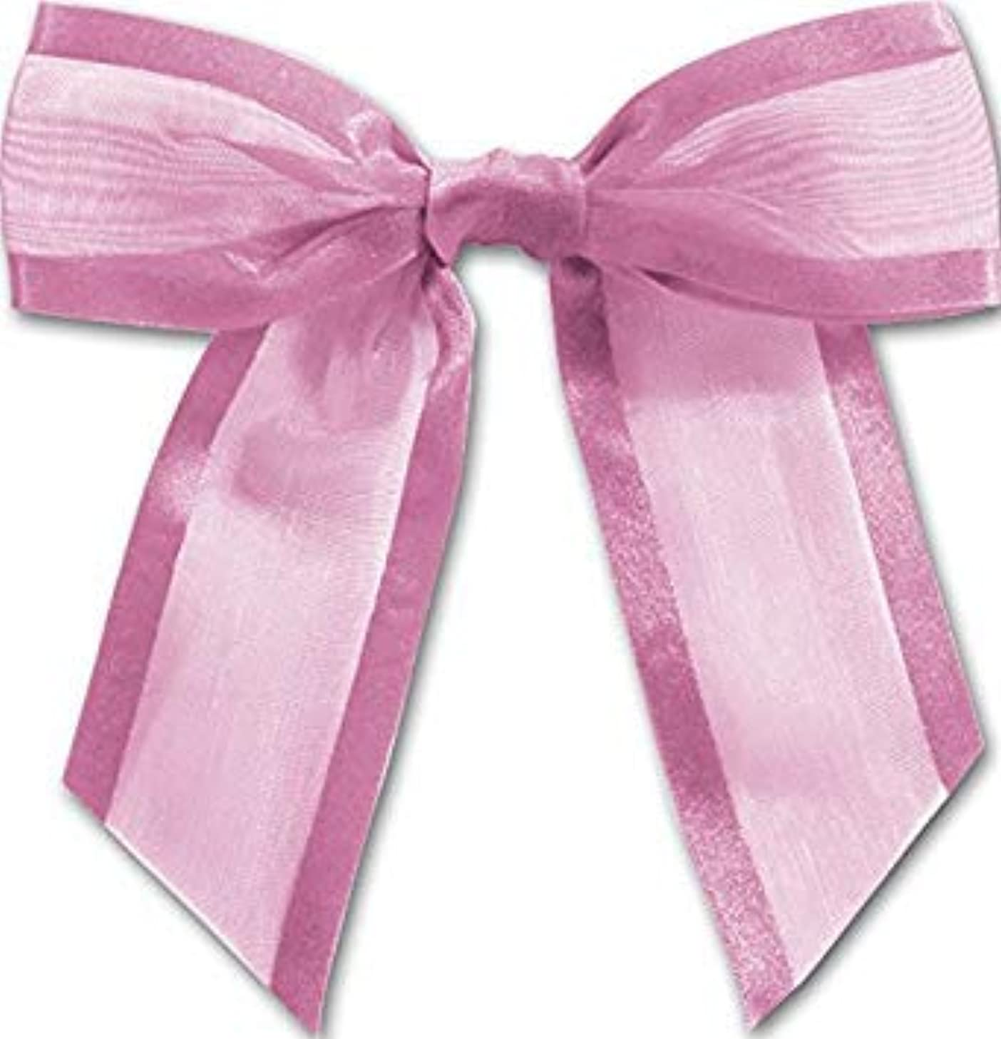 Lavender Pre-Tied Organza Bows with Twist Ties. Pack of 12 Satin-Edged Fabric Bows Made of 1-1/2