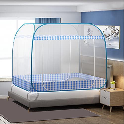 Mosquitera plegable de 200 x 180 x 165 cm, con doble puerta con parte inferior portátil, mosquiteros de viaje, fácil instalación, malla fina azul de 75 x 39 x 43 pulgadas