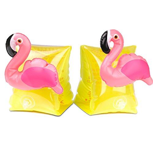HeySplash Manguitos Acuáticos Flotadores de Brazo para Niños de 3 a 6 años, Flamingo Amarillo